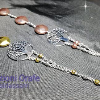 Bracciale albero della vita in argento 925 ed ematite galvanica oro rosa o oro giallo, rilegato a mano